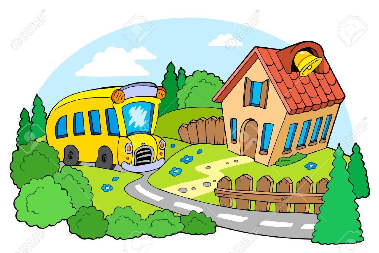 Landscape with school Stock Vector - 7469551