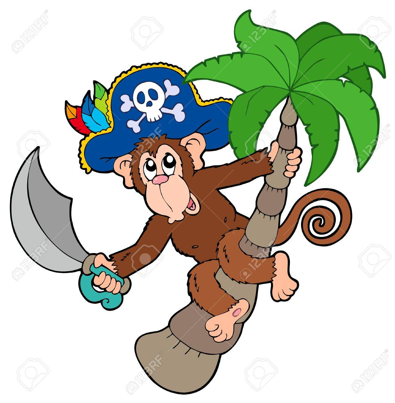 Pirate monkey with palm tree Stock Vector - 7469549