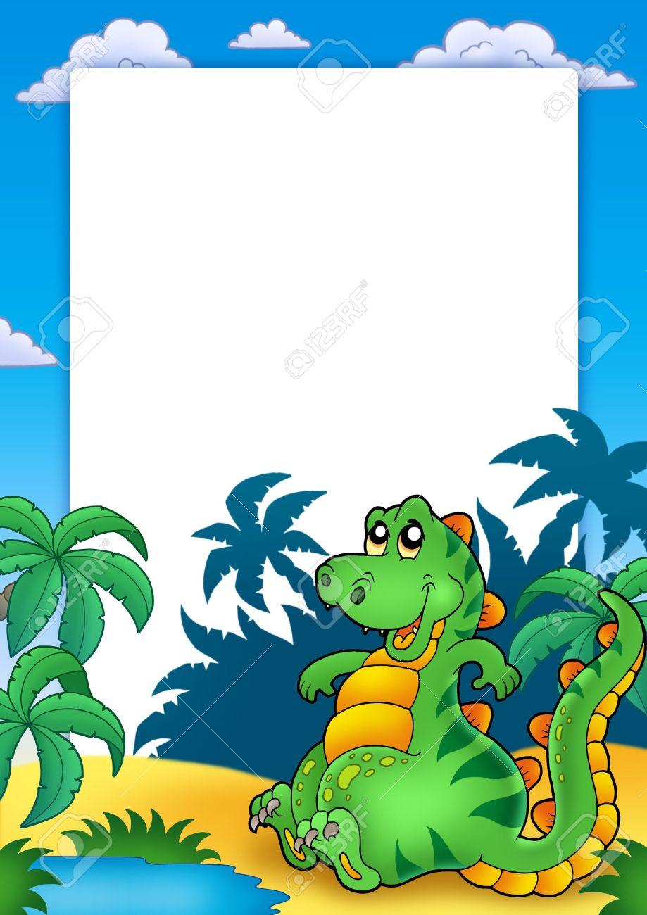 Marco Con Sesión Cute Dinosaurio - Ilustración De Color. Fotos ...