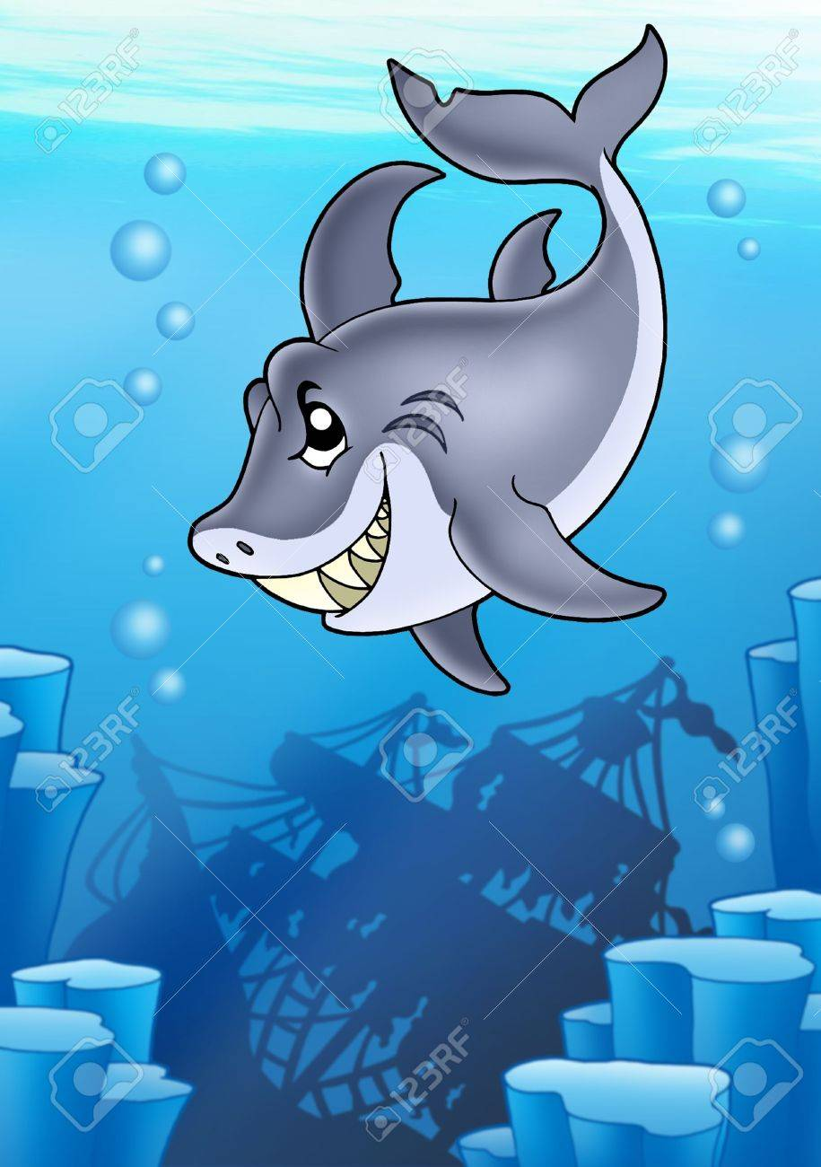 Shark with mysterious shipwreck - color illustration. Stock Illustration - 7481706