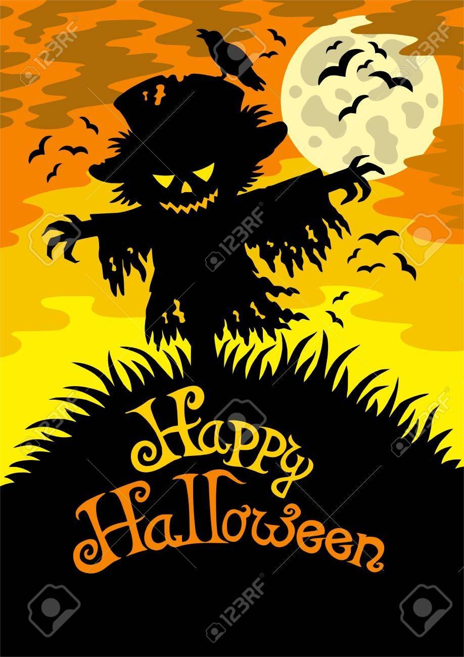 happy halloween happy halloween sign with scarecrow - Happy Halloween Cartoon Pics