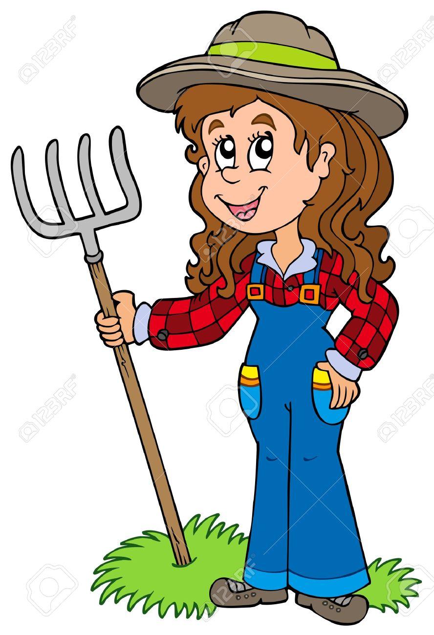 Cute farm girl Stock Vector - 7630373
