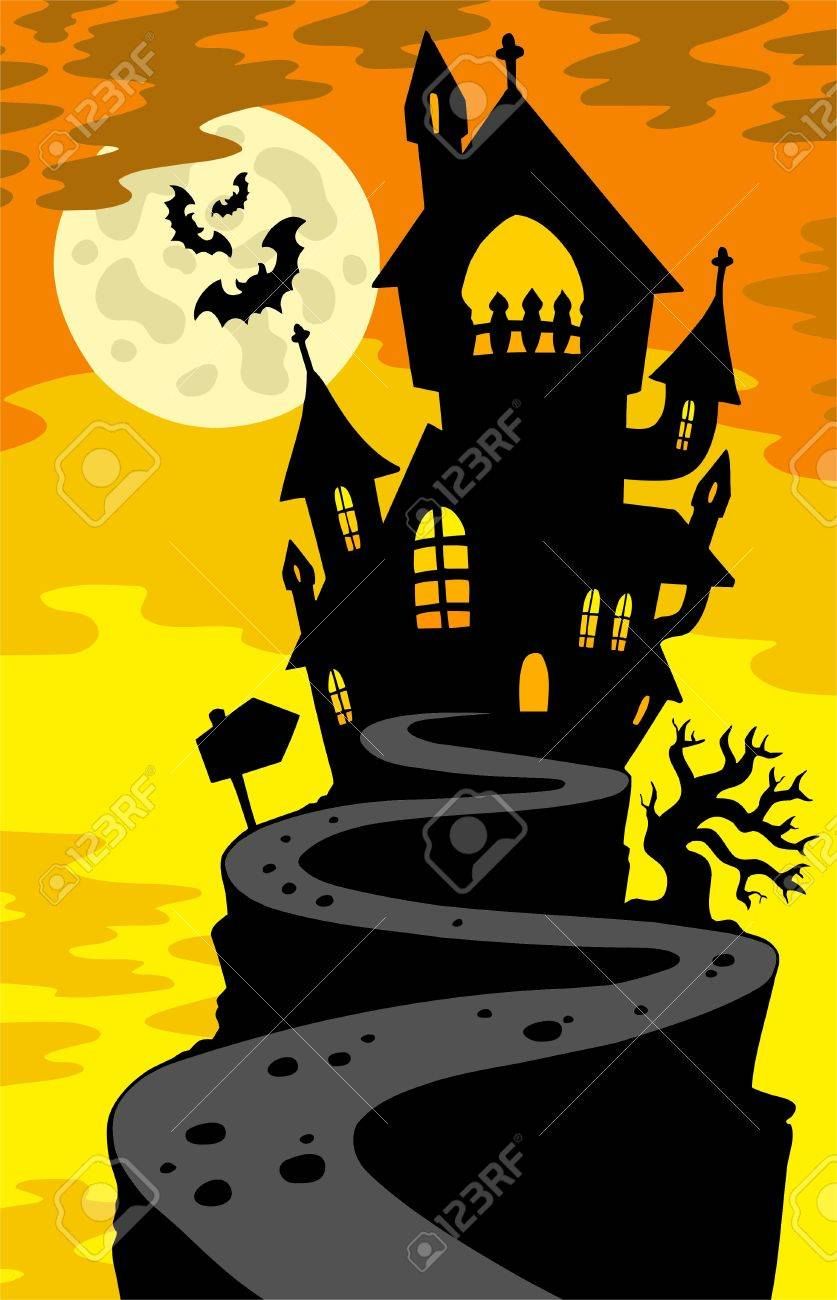 Superb Haunted House Silhouette On Hill Royalty Free Cliparts Vectors Largest Home Design Picture Inspirations Pitcheantrous