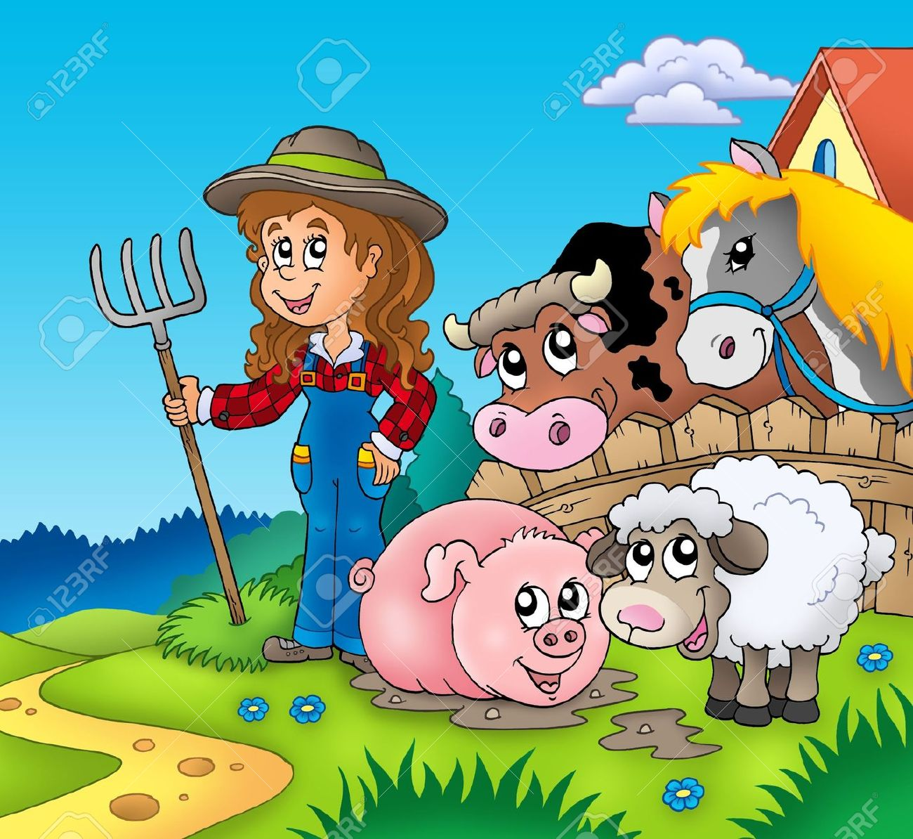 Country girl with farm animals - color illustration. Stock Illustration - 7630240