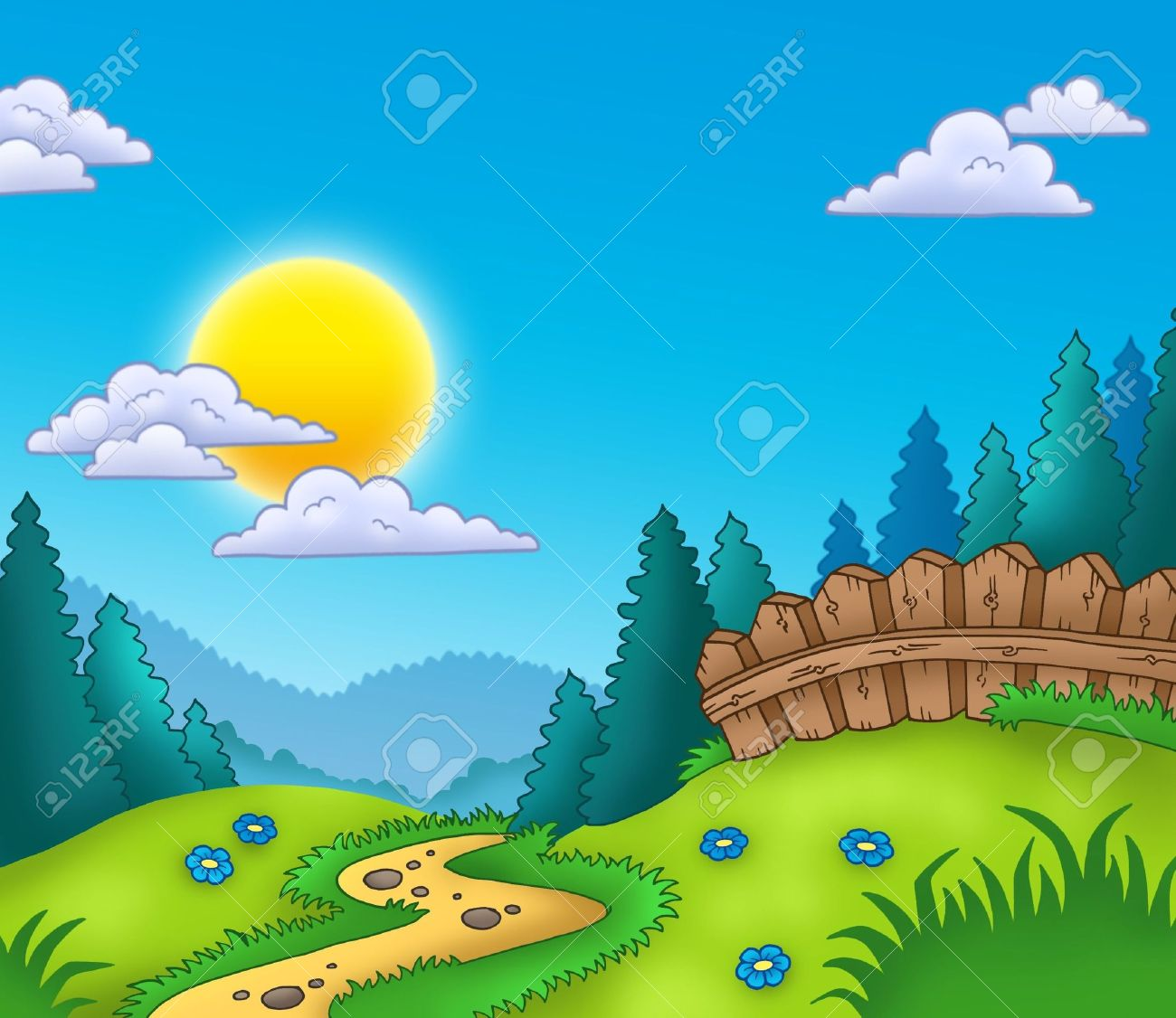 Country landscape with Sun - color illustration. Stock Illustration - 7630194