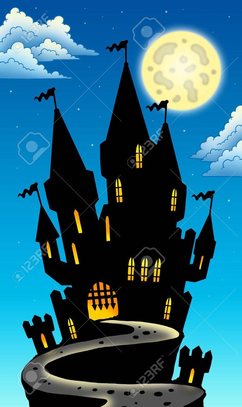 Night view on castle on hill - color illustration. Stock Photo - 7630202