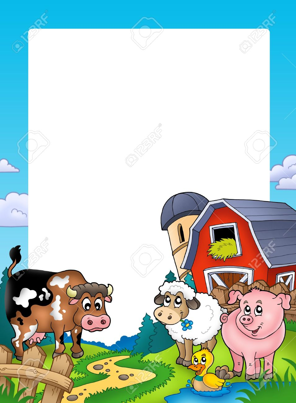 Frame with barn and farm animals - color illustration. Stock Photo - 7722922