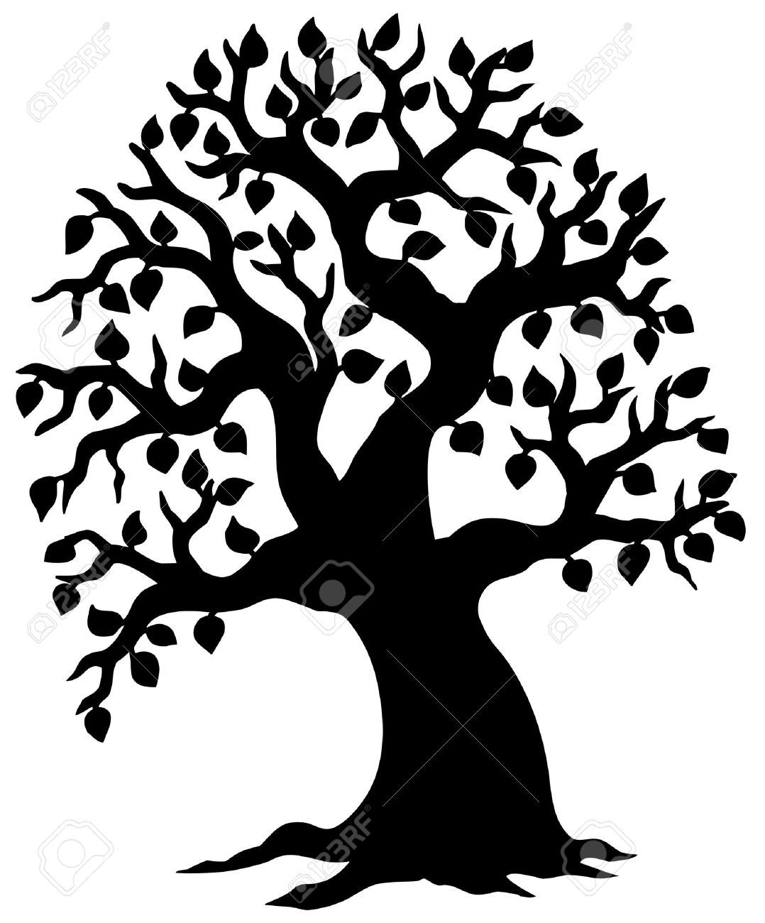Big Leafy Tree Silhouette - Illustration. Royalty Free Cliparts ...