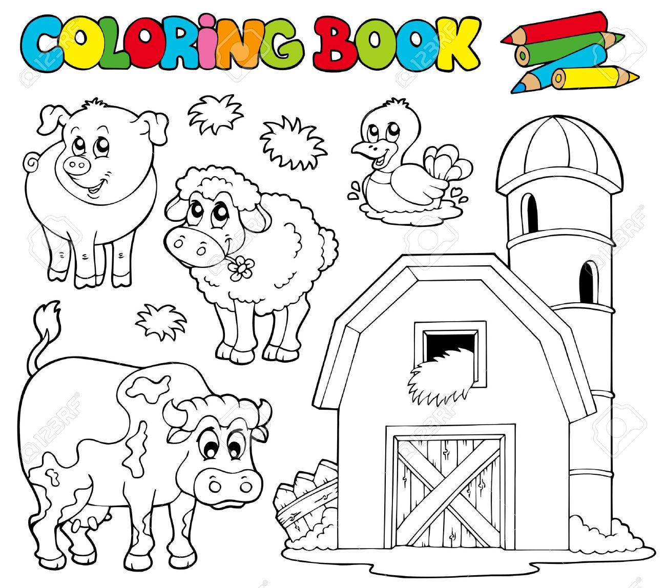 Coloring Book With Farm Animals - Illustration. Royalty Free ...
