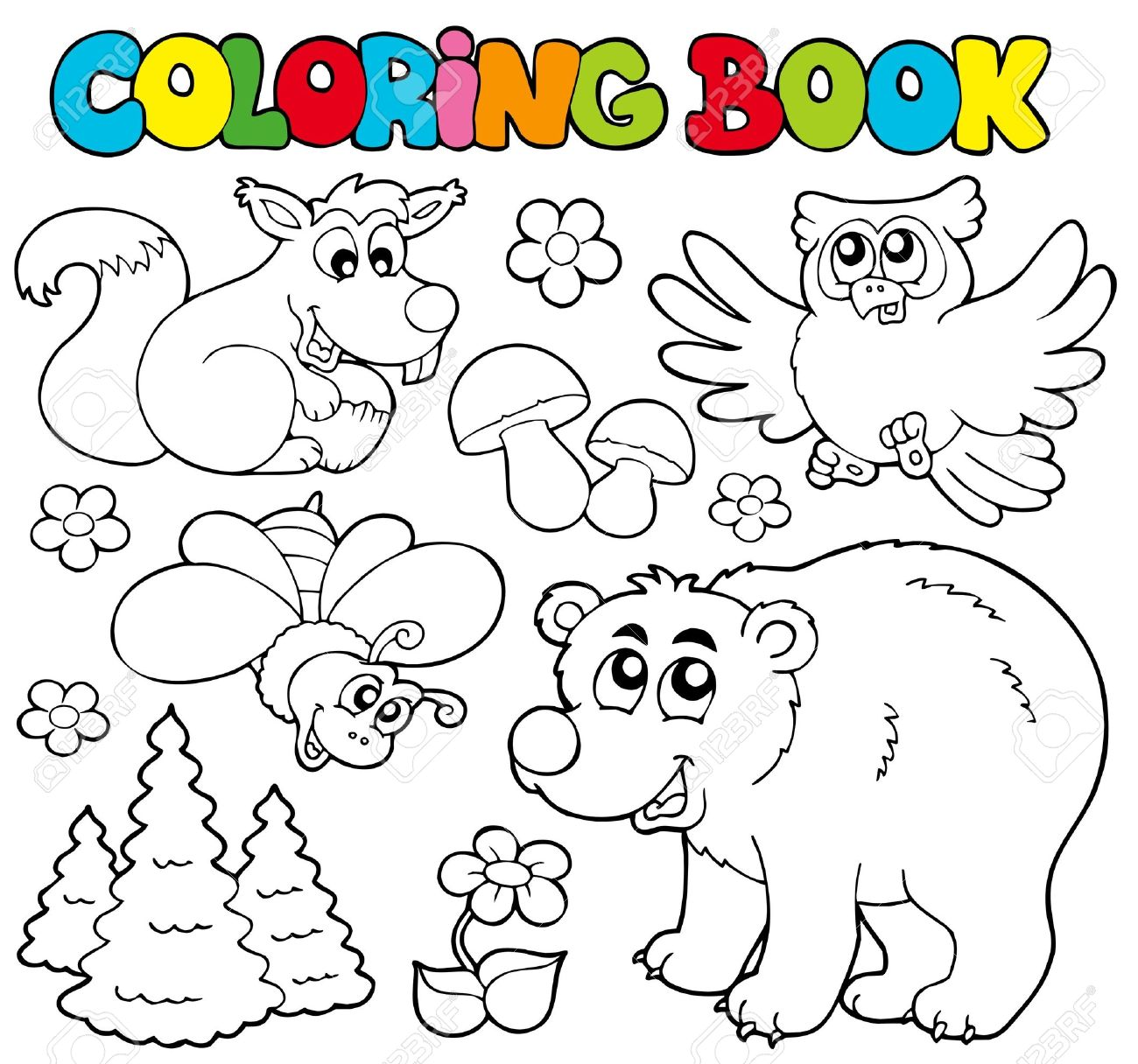Coloring Book With Forest Animals - Illustration. Royalty Free ...