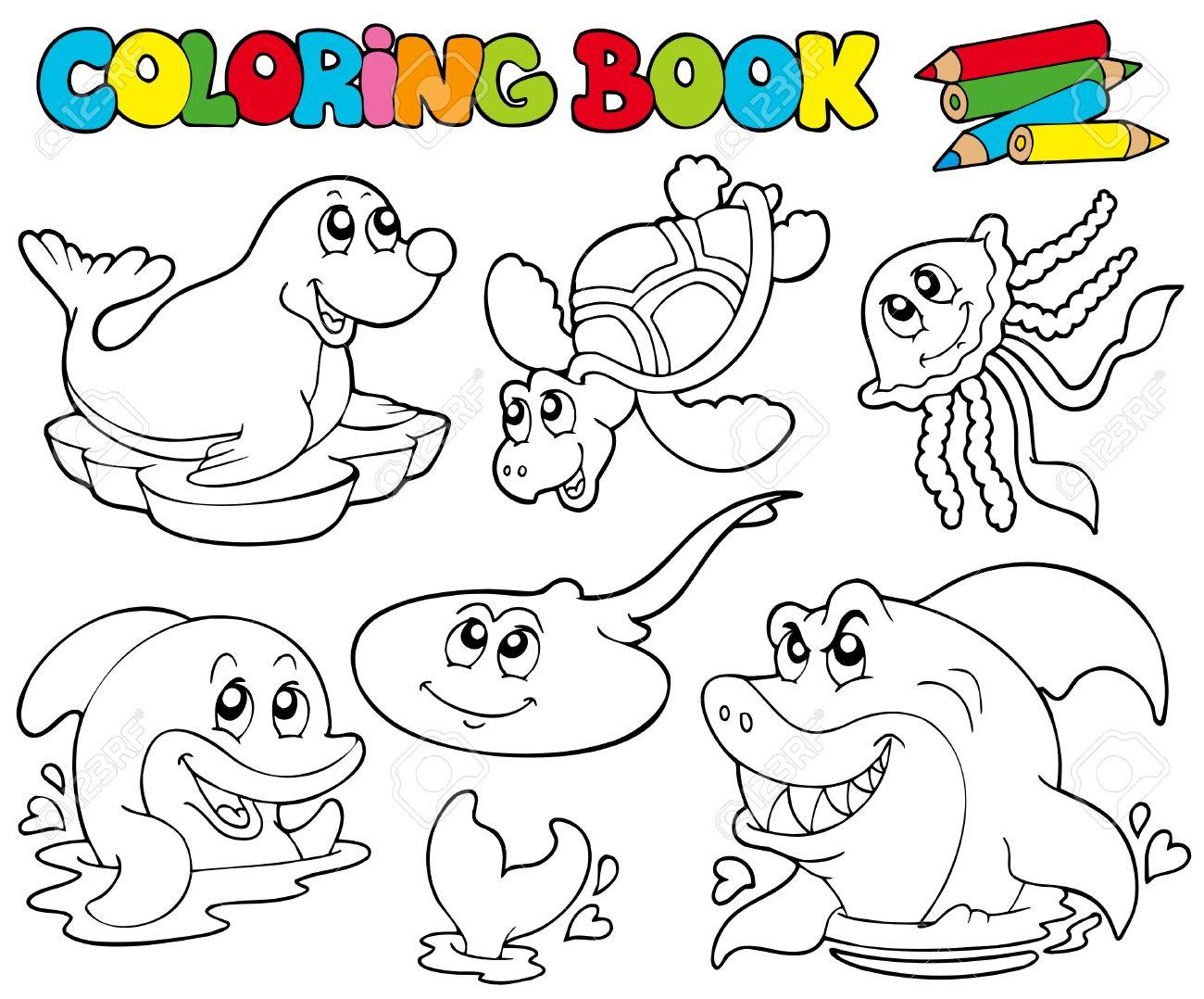 Libro Para Colorear Con Animales Marinos - Ilustración ...