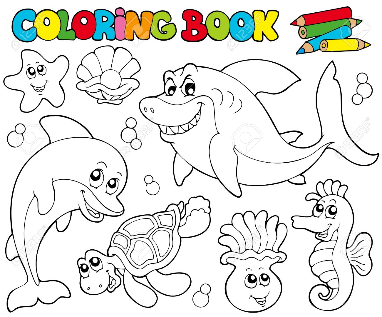Coloring Book With Marine Animals