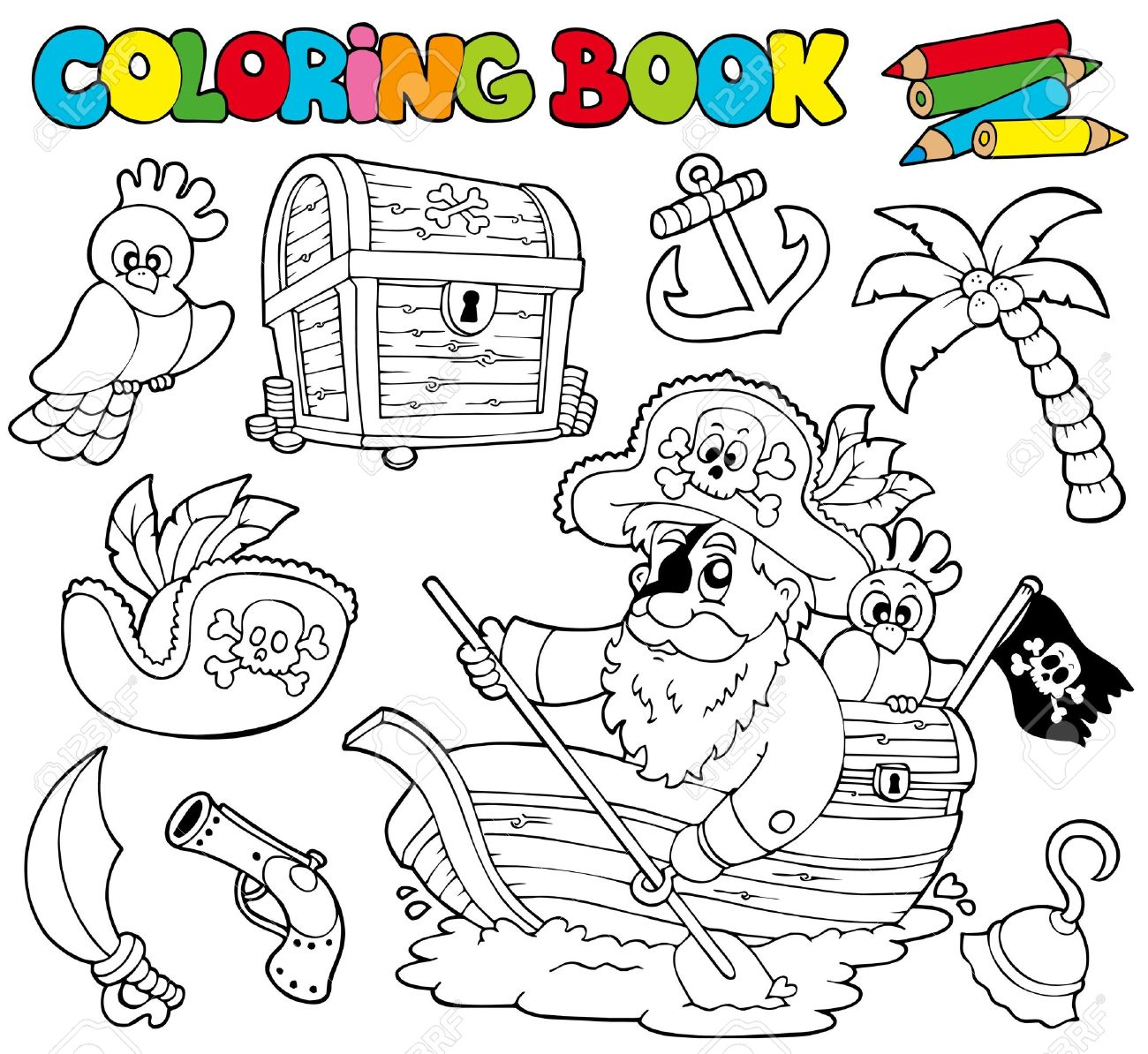 Coloring Book With Pirates - Illustration. Royalty Free Cliparts ...