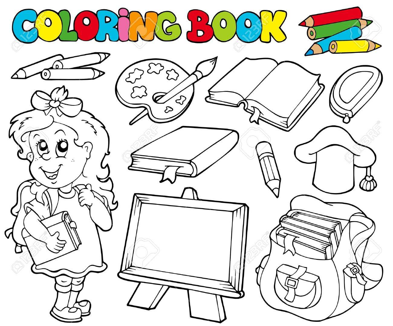 Coloring book school - Coloring Book With School Theme Illustration Stock Vector 7929416