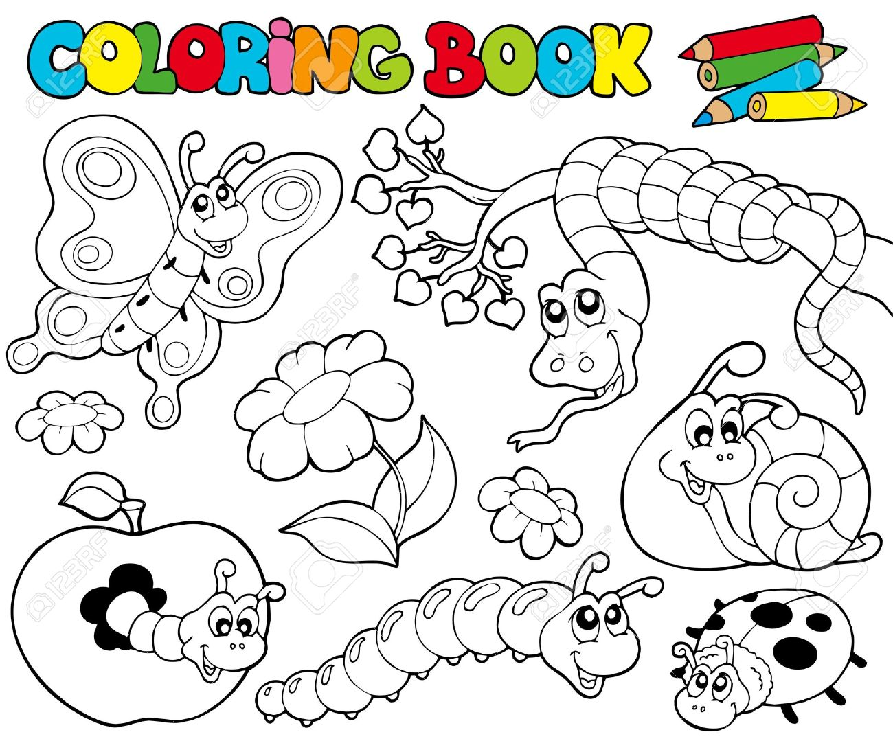 Coloring Book With Small Animals Illustration Royalty Free