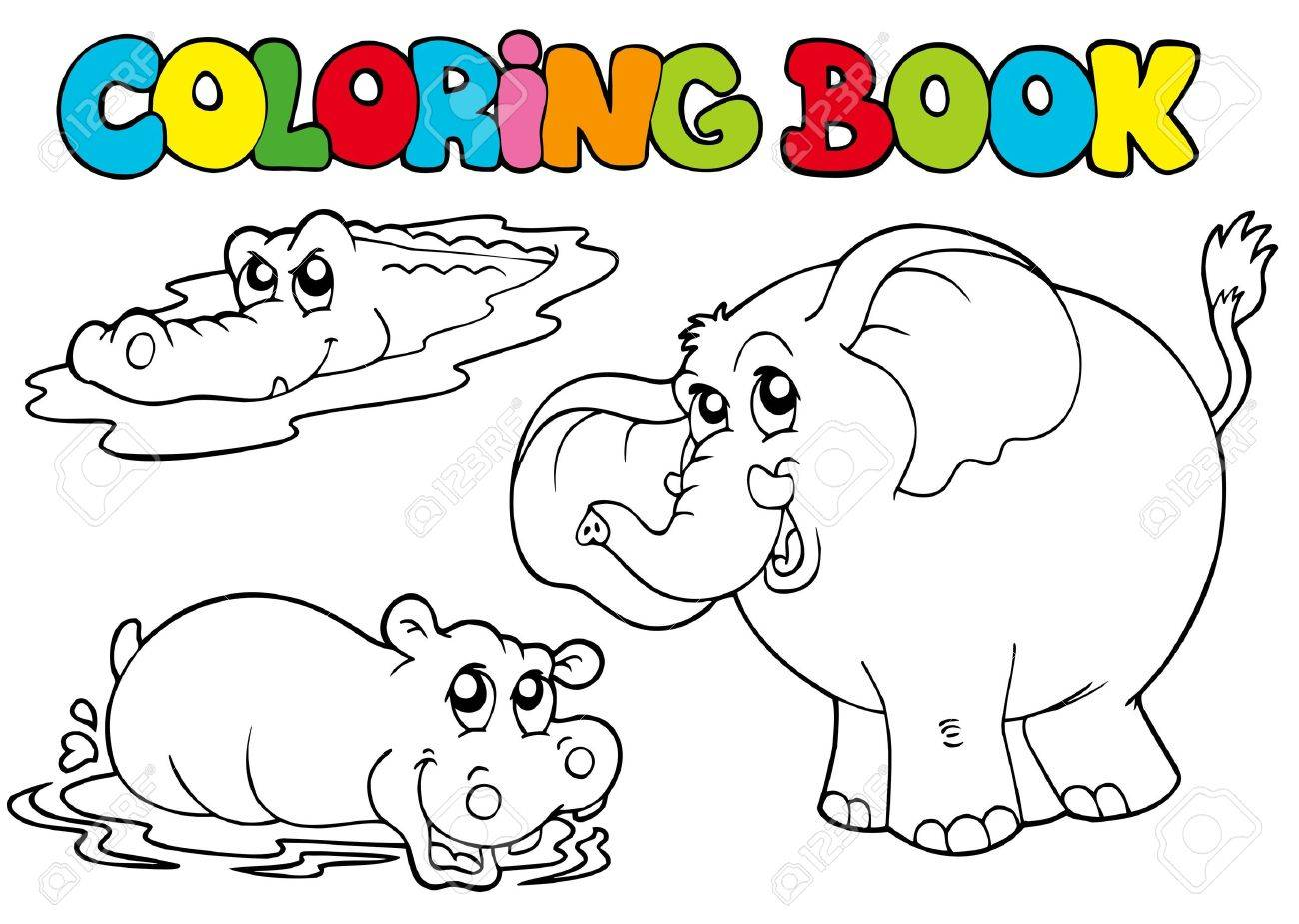 Coloring Book With Tropic Animals - Illustration. Royalty Free ...