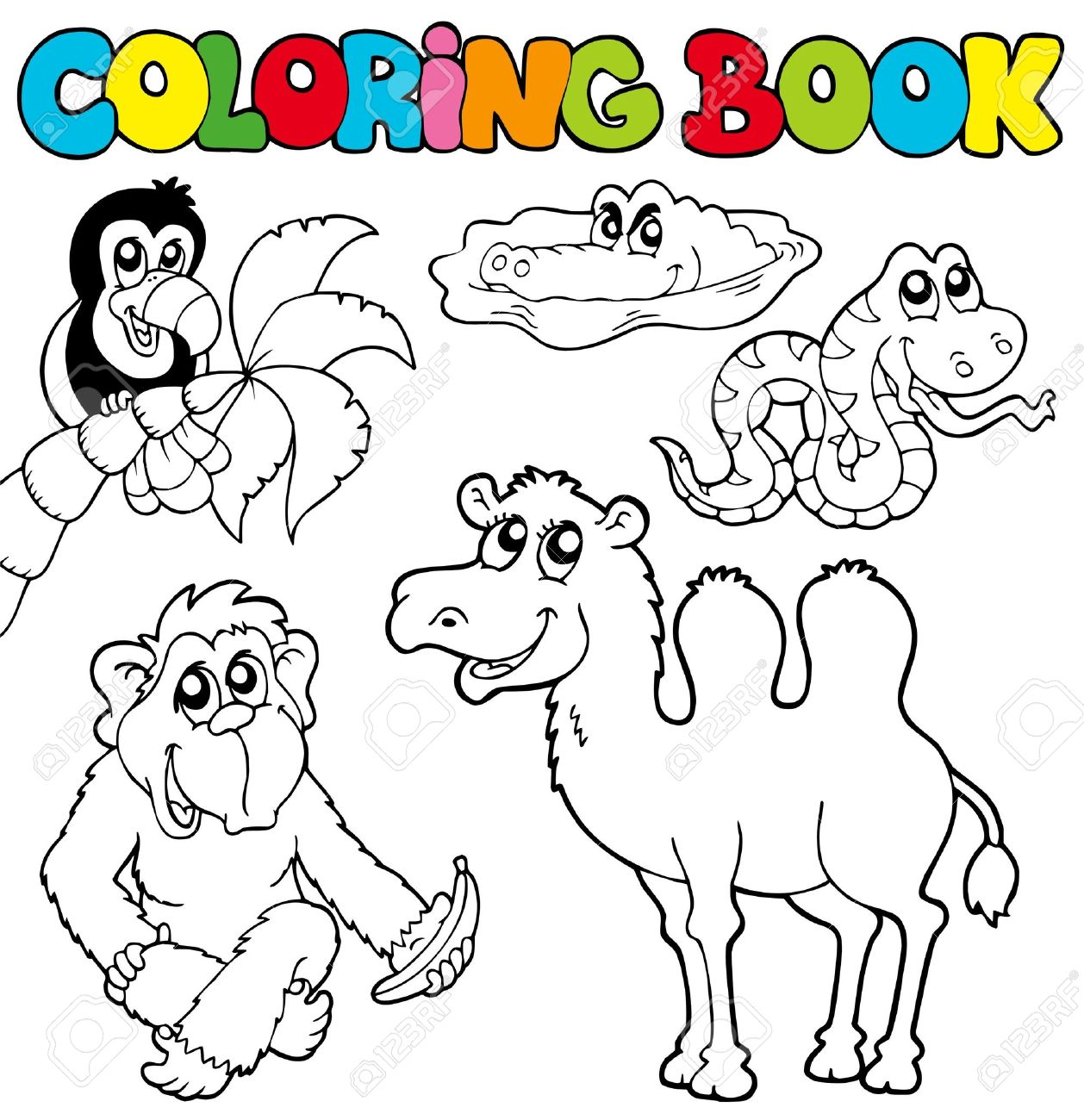 Coloring Book With Tropic Animals 3 -illustration. Royalty Free ...