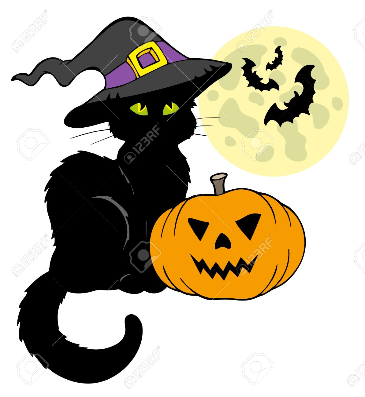 Halloween cat silhouette with Moon - illustration. Stock Vector - 7929325