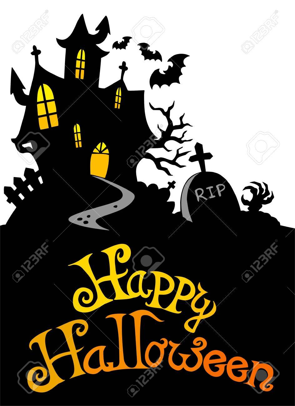 Halloween house with sign 3 - illustration. Stock Vector - 7929334