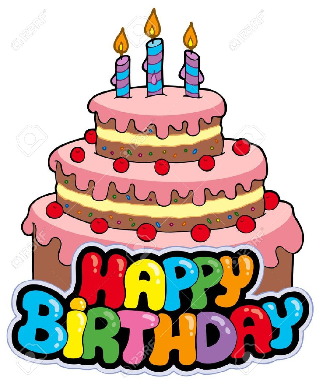Happy birthday sign with cake - illustration. Stock Vector - 7929357