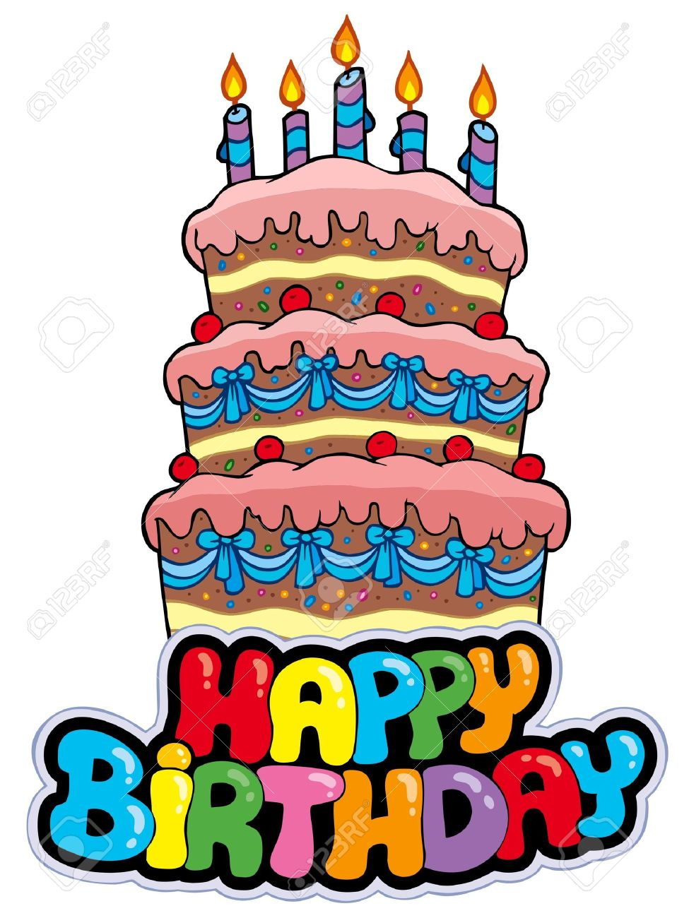 Happy Birthday Sign With Tall Cake Illustration Royalty Free