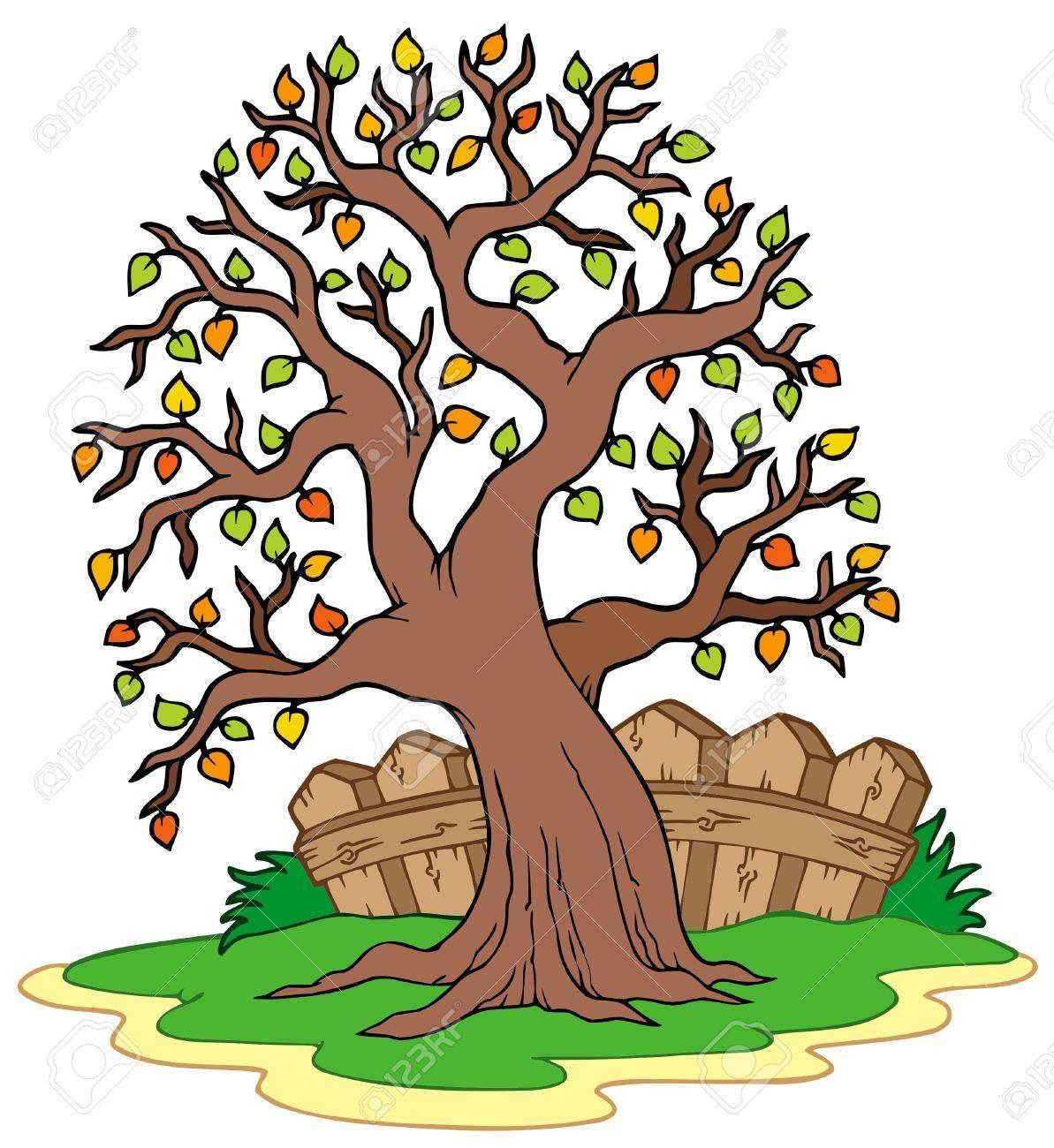 Grüner Baum Mit Zaun Vektor Illustration Lizenzfrei Nutzbare