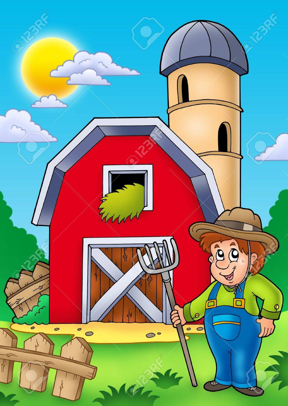 Big red barn with farmer - color illustration. Stock Illustration - 7929333