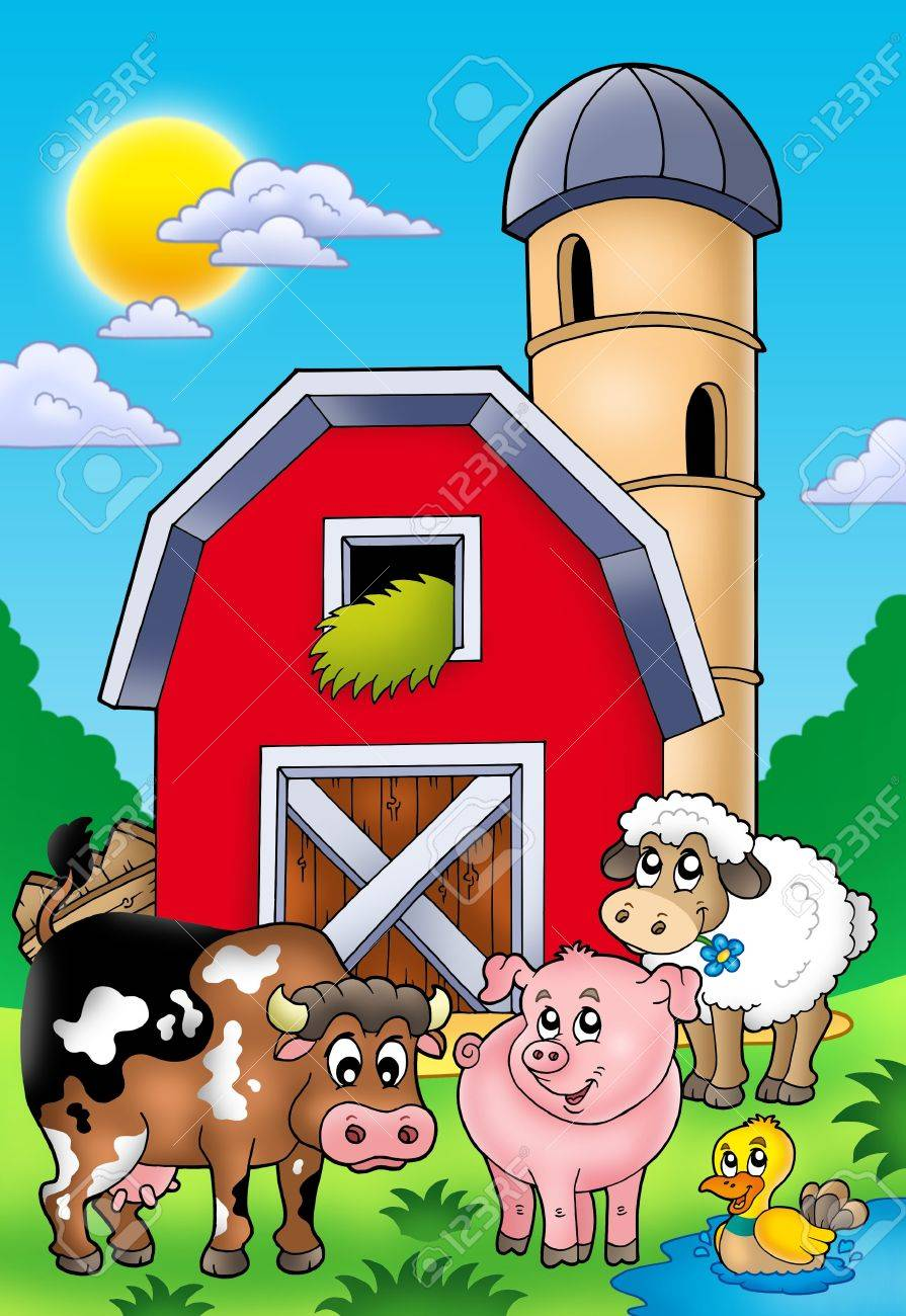 Big red barn with farm animals - color illustration. Stock Illustration - 7929340