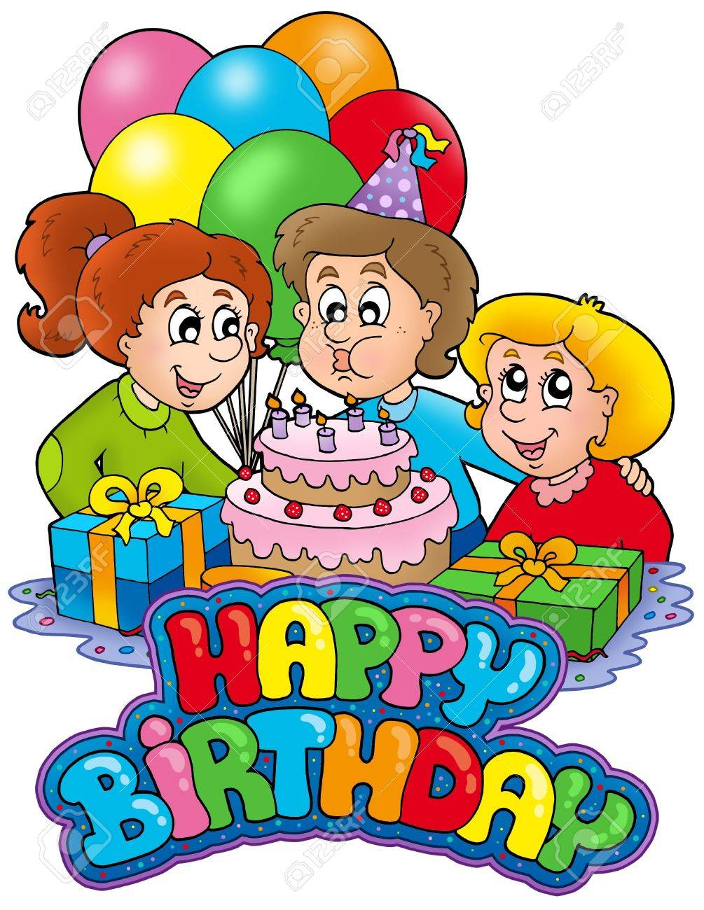 birthday sign with happy family color illustration stock photo