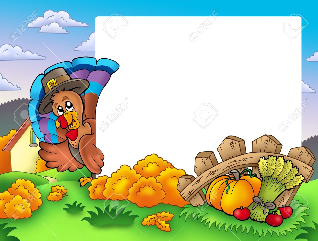 Thanksgiving Frame With Turkey 1 - Color Illustration. Stock Photo ...
