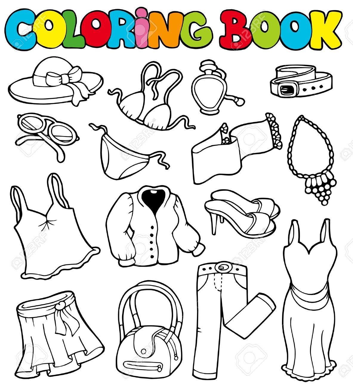 Libro Para Colorear Con Prendas De Vestir - Ilustración ...