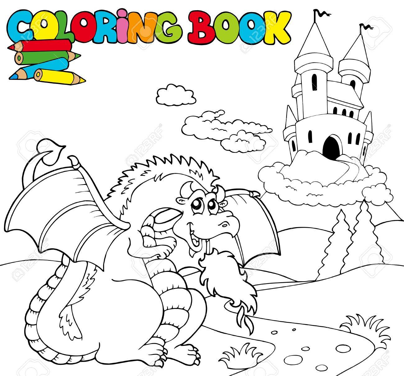 Coloring book with big dragon - illustration. Stock Vector - 8145357
