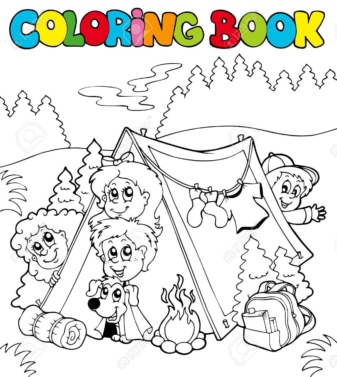 Kids coloring book - Coloring Book With Camping Kids Illustration Stock Vector 8145342