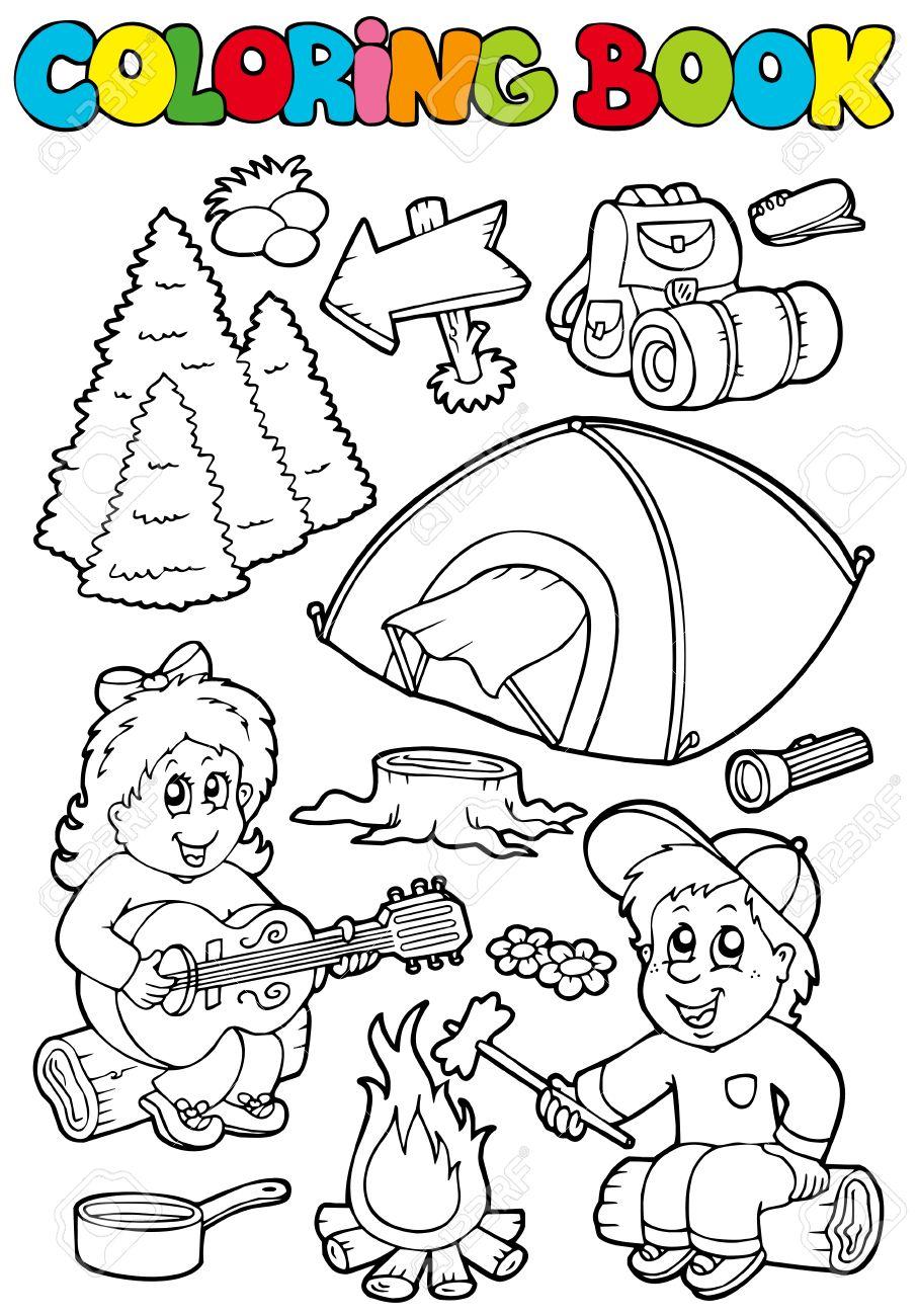 Libro Para Colorear Con Tema De Camping - Ilustración. Ilustraciones ...