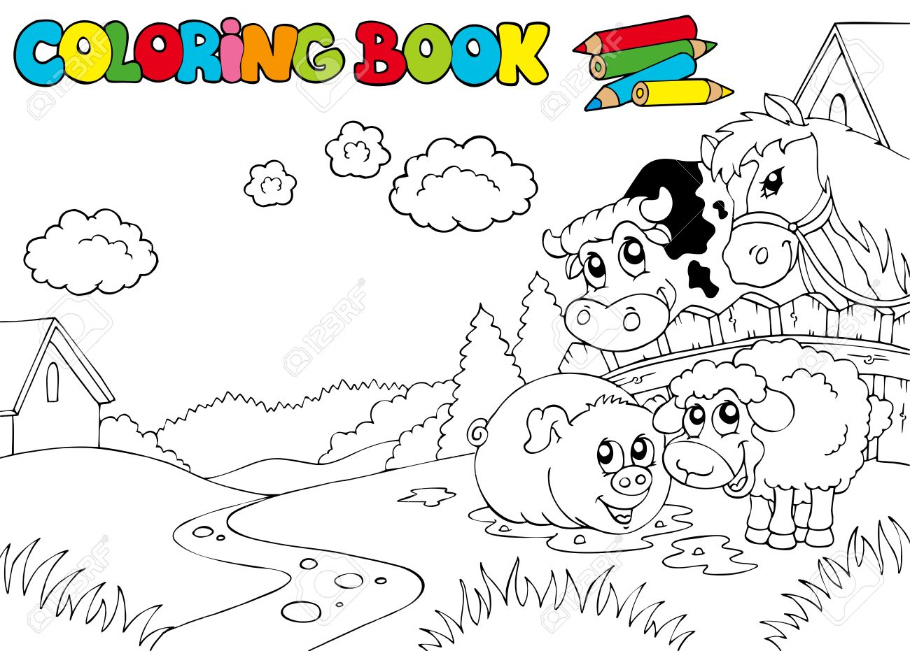 Coloring Book With Cute Animals