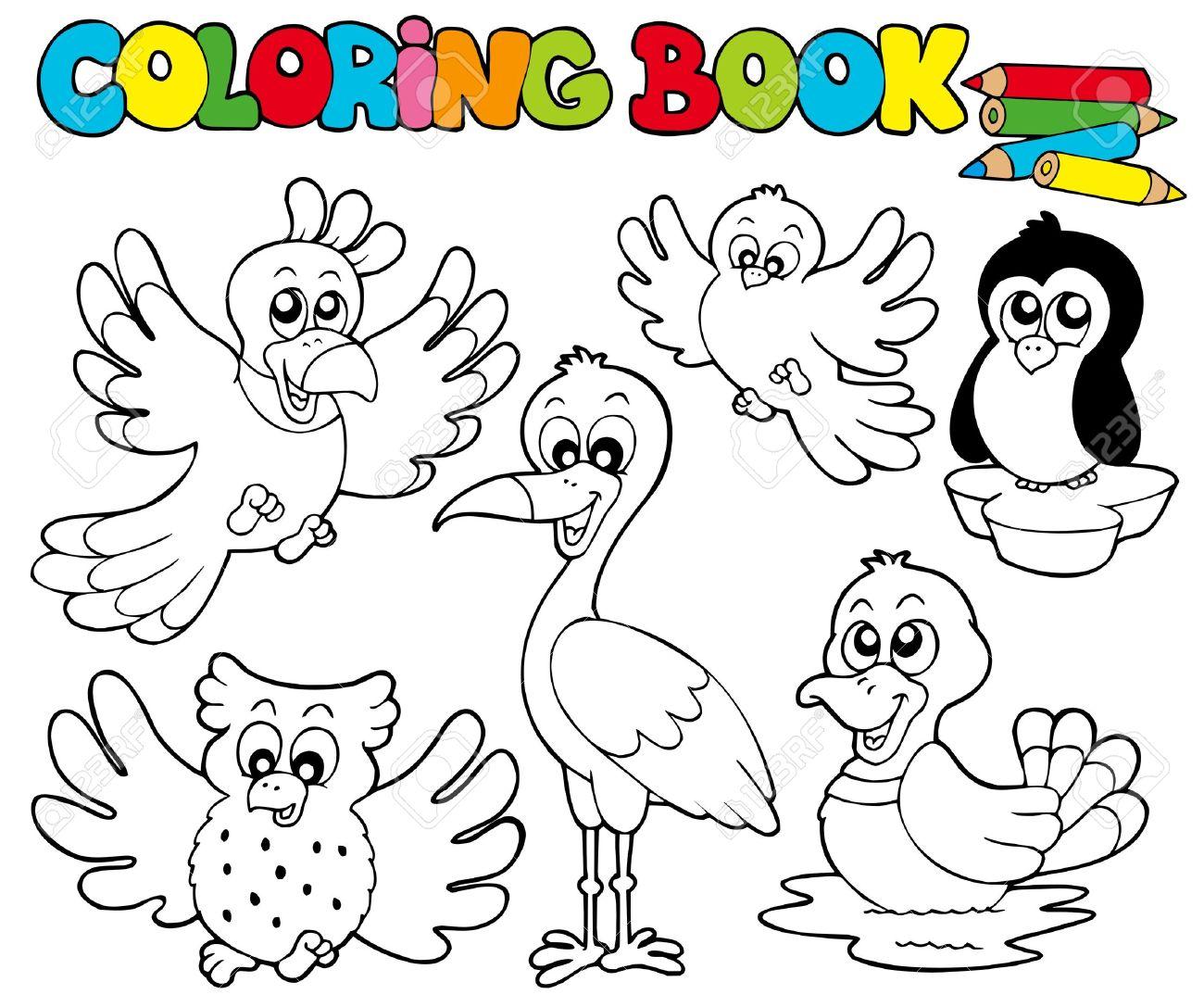 Libro Para Colorear Con Aves Lindos - Ilustración. Ilustraciones ...