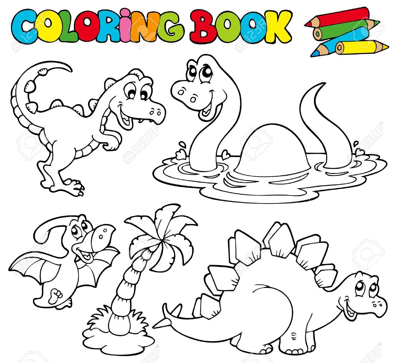 Libro Para Colorear Con Dinosaurios - Ilustración. Ilustraciones ...