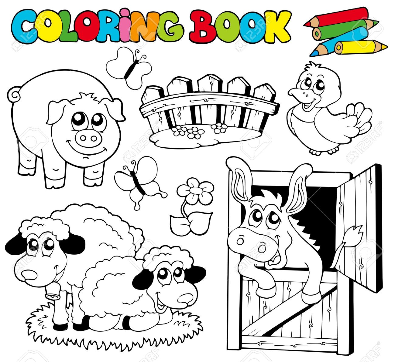 Coloring book with farm animals  - illustration. Stock Vector - 8145362
