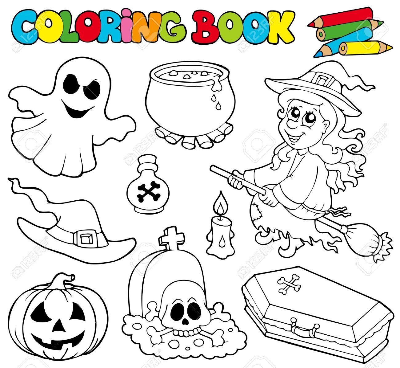 Libro Para Colorear Con Imágenes De Halloween - Ilustración ...