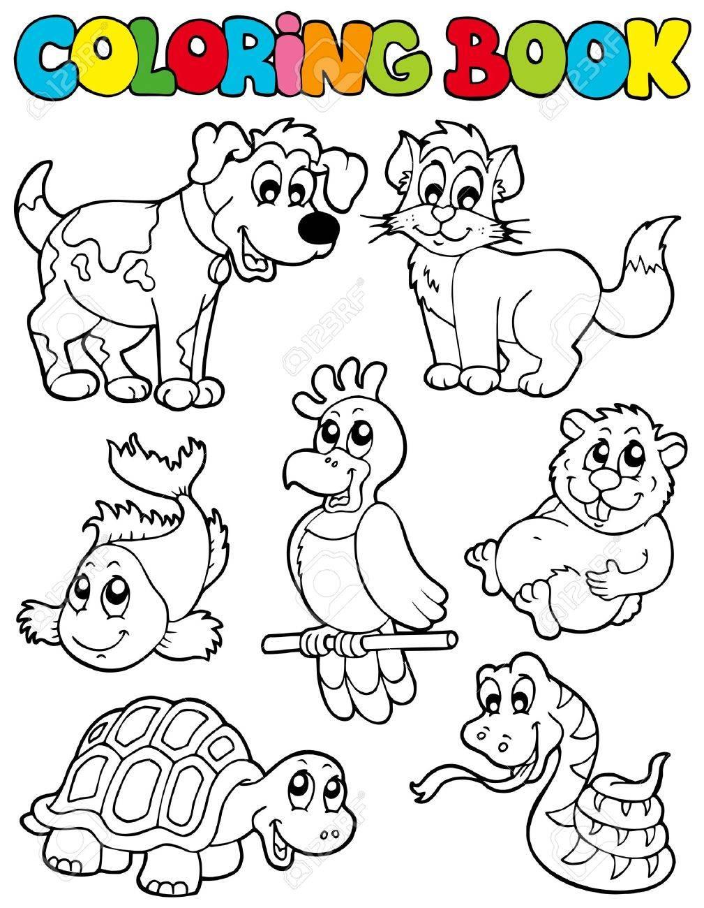Libro Para Colorear Con Mascotas Ilustración