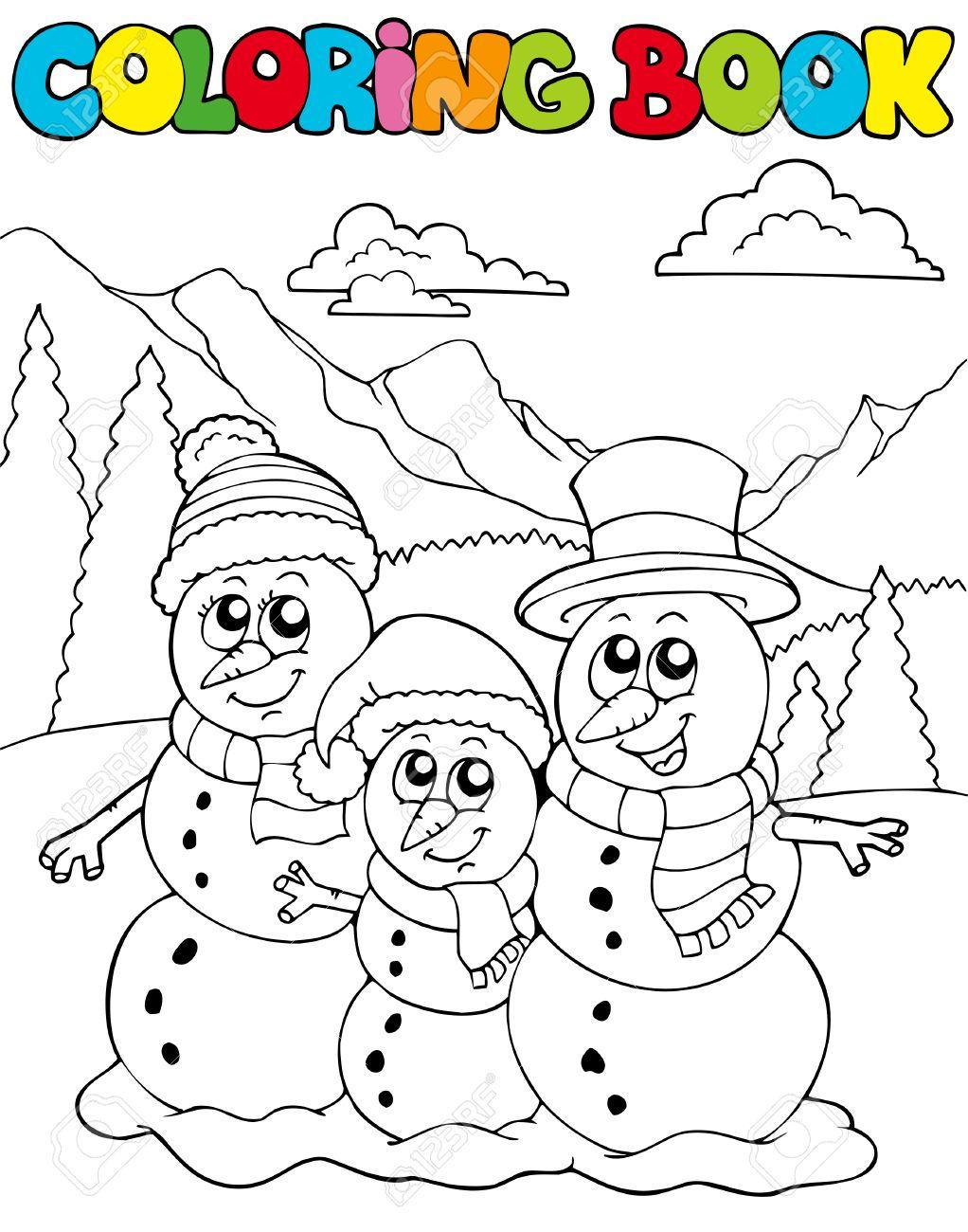 Libro Para Colorear Con Familia De Muñeco De Nieve Ilustración