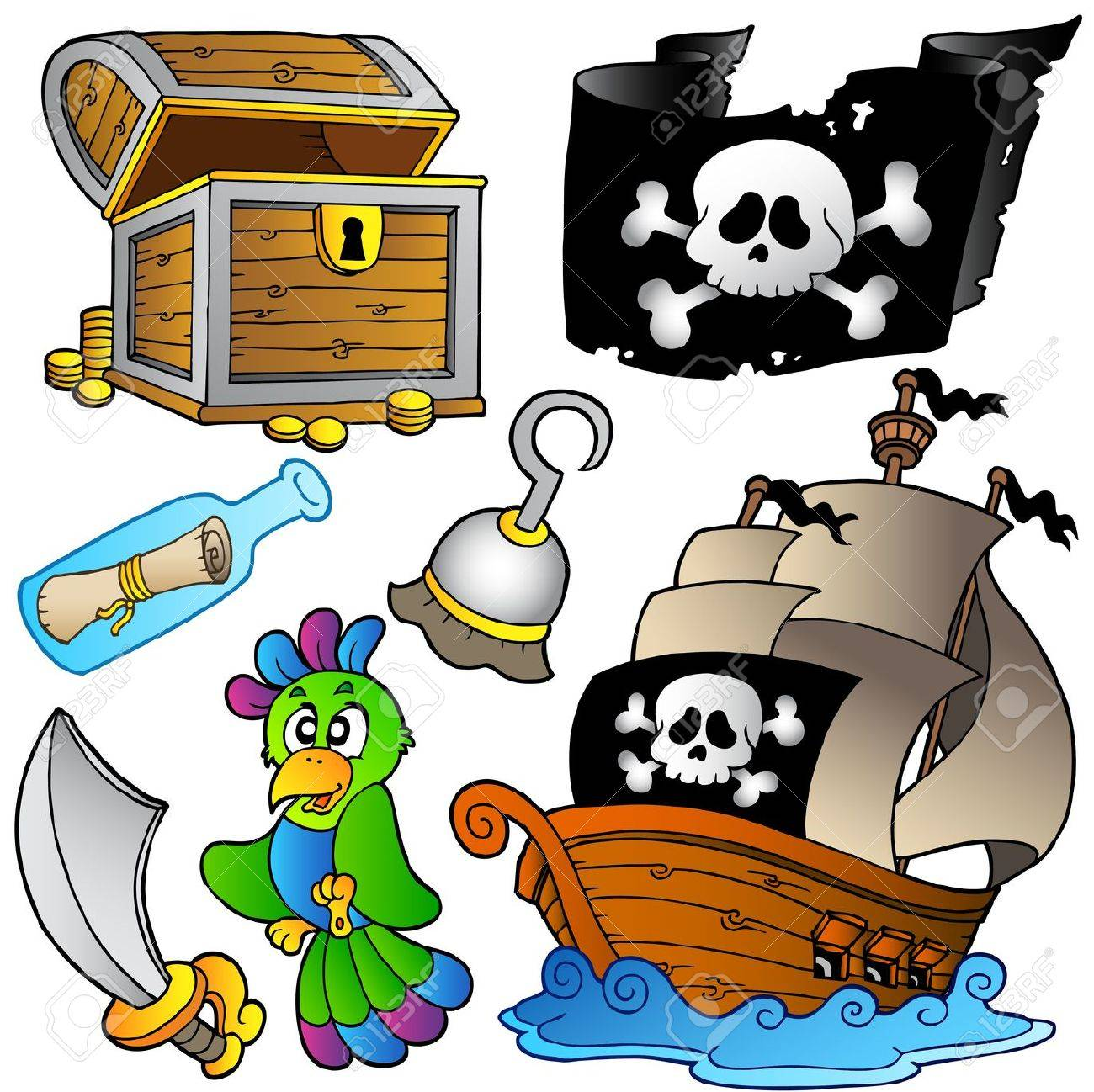 Pirate collection with wooden ship -   illustration. Stock Vector - 8195463