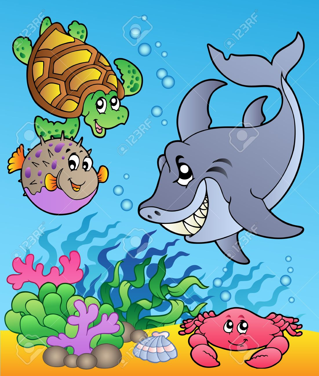 underwater animals and fishes 1 illustration royalty free