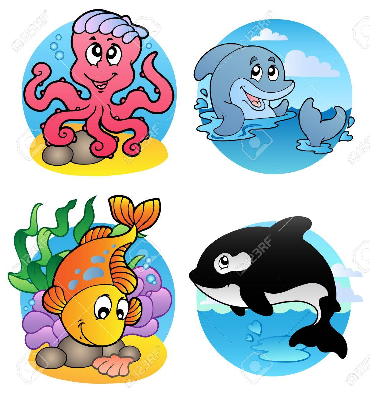 various aquatic animals and fishes illustration royalty free