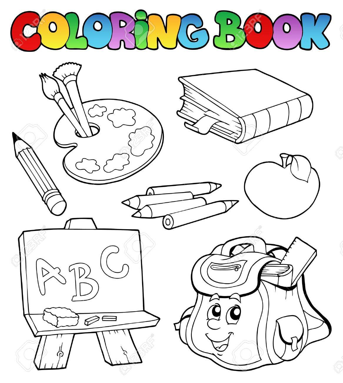 Coloring book school - Coloring Book With School Images Illustration Stock Vector 8350131