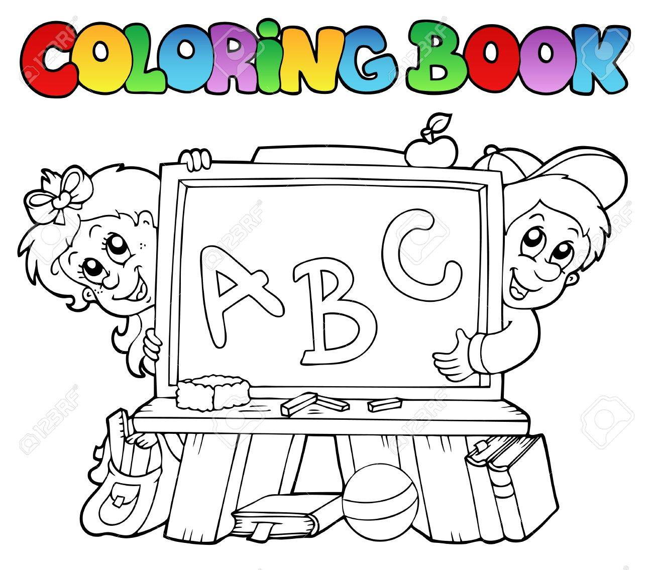 Coloring book school - Coloring Book With School Images Illustration Stock Vector 8350128