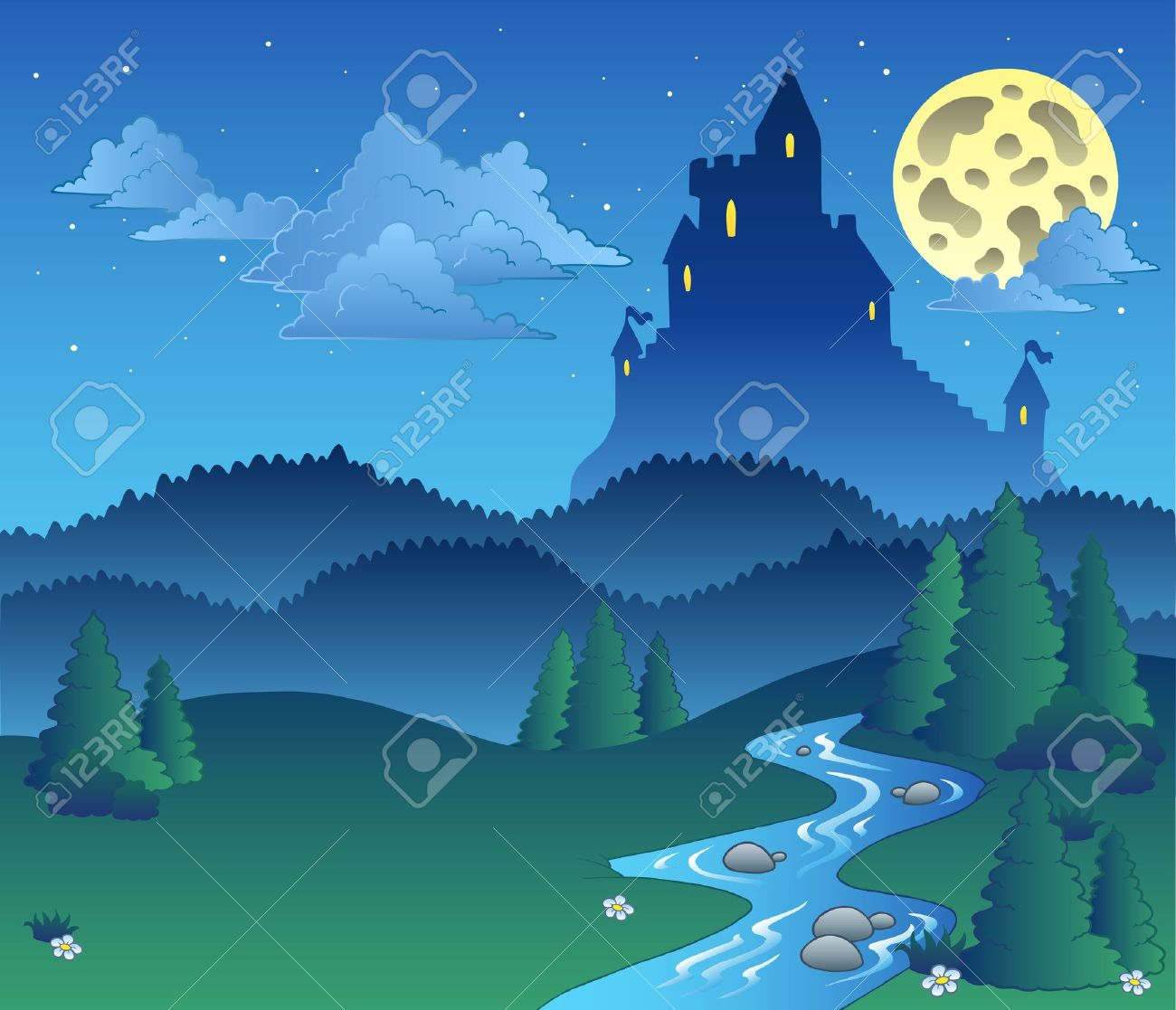 Fairy tale landscape at night  - illustration. Stock Vector - 8350137