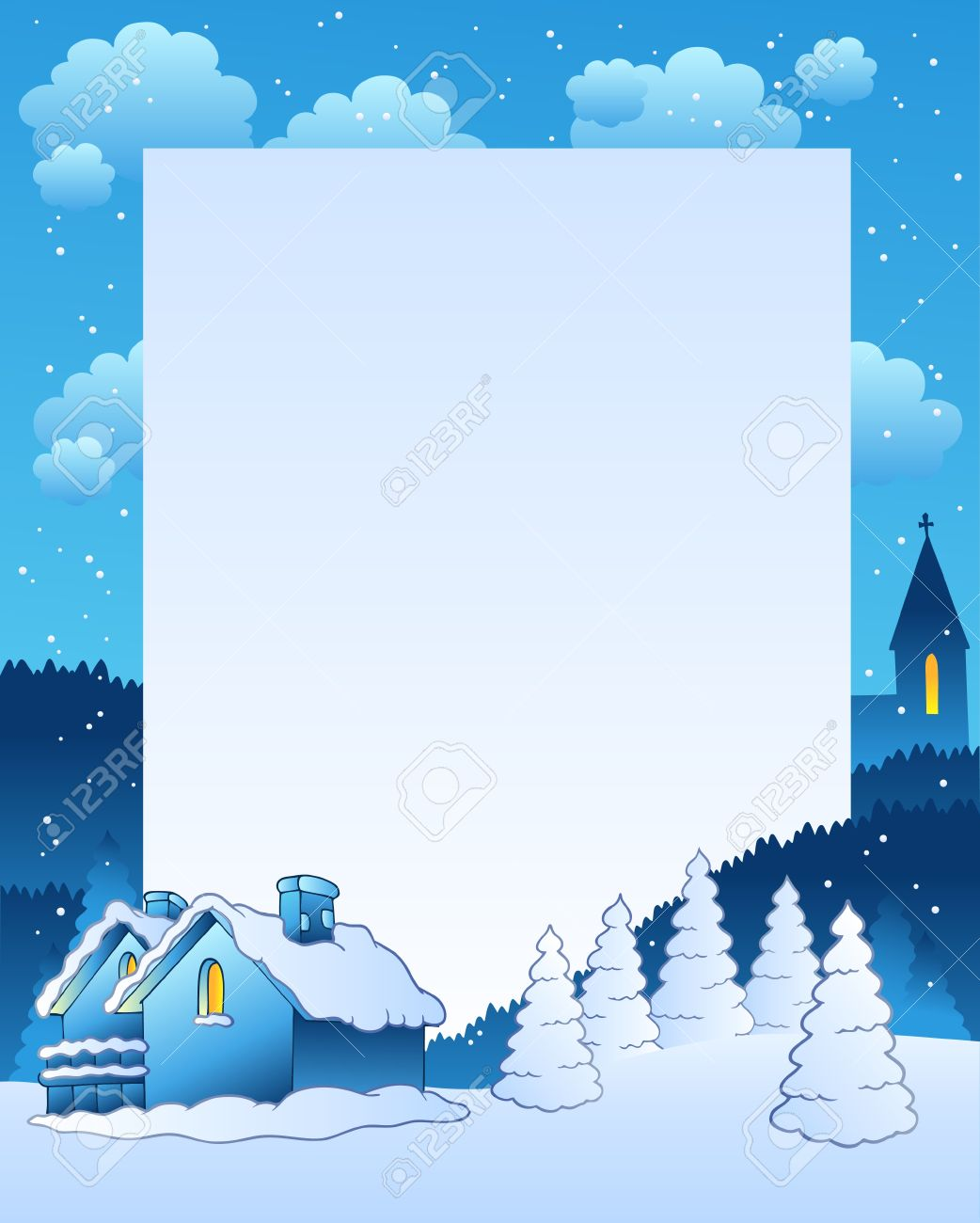Winter frame with small village - illustration. Stock Vector - 8350130
