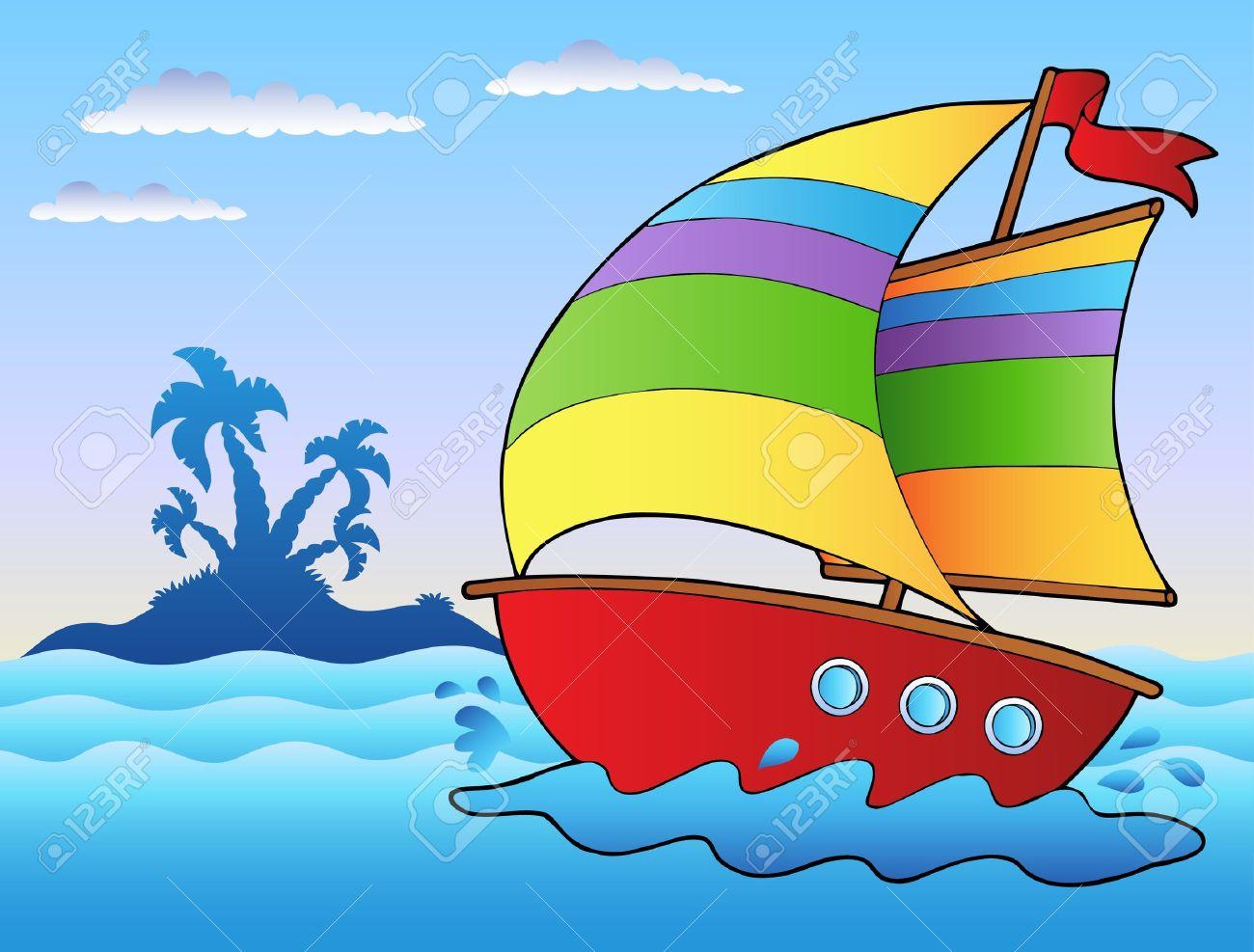 cartoon sailboat near small island royalty free cliparts vectors rh 123rf com cartoon 700 sailboat cartoon sailboat images