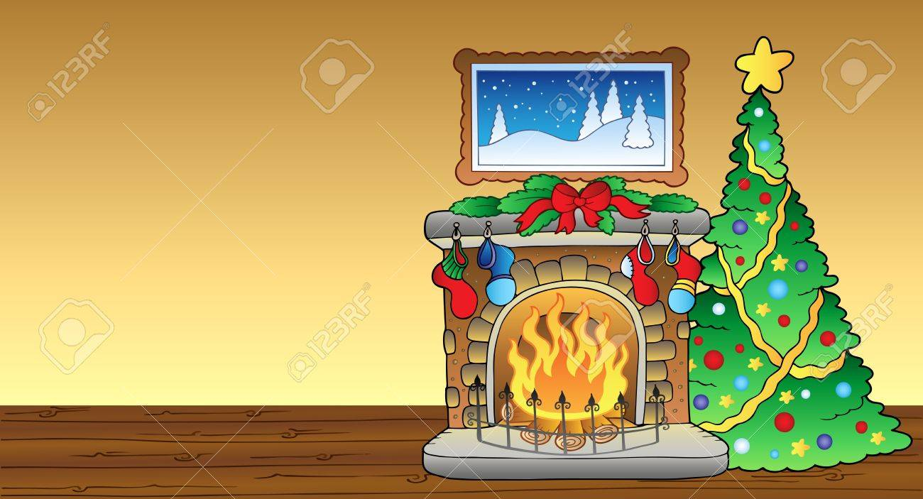 Christmas card with fireplace Stock Vector - 8433541